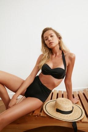 TRENDYOLMİLLA Siyah Büzgü Detaylı Yüksek Bel Bikini Altı TBESS20BA0206 1