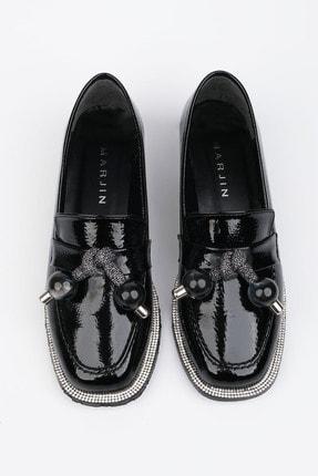 Marjin Kadın Siyah Rugan Loafer Ayakkabı Favol 0