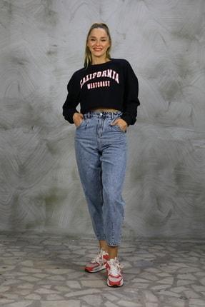 Grenj Fashion Kadın Açık Mavi Kar Yıkama Önü Pileli Yüksek Bel Balon Jean Pantolon 0