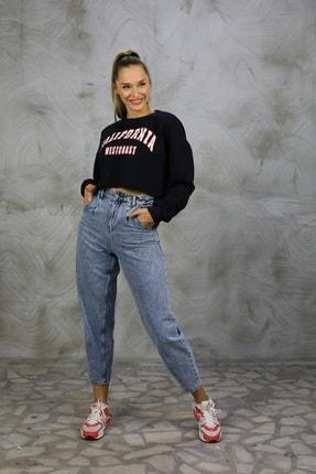 Grenj Fashion Kadın Açık Mavi Kar Yıkama Önü Pileli Yüksek Bel Balon Jean Pantolon 1