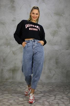 Grenj Fashion Kadın Açık Mavi Kar Yıkama Önü Pileli Yüksek Bel Balon Jean Pantolon 4