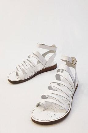 Marjin Kadın Beyaz Hakiki Deri Günlük Sandalet Saper 4