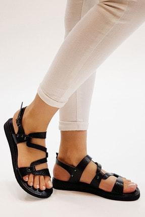Marjin Kadın Siyah Yılan Hakiki Deri Günlük Sandalet Perte 3