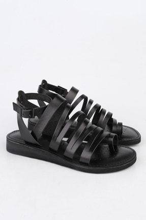 Marjin Kadın Siyah Hakiki Deri Günlük Sandalet Saper 2