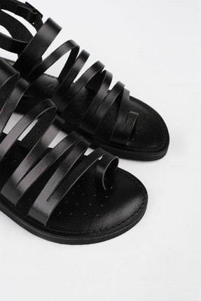 Marjin Kadın Siyah Hakiki Deri Günlük Sandalet Saper 3