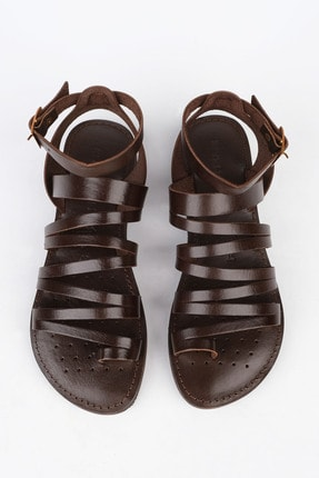 Marjin Kadın Kahve Hakiki Deri Günlük Sandalet Saper 2