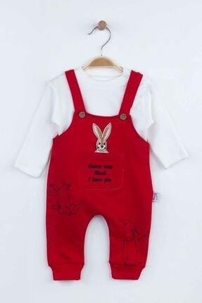 Picture of Erkek Bebek Kırmızı Tavşan Desenli  Salopet Tulum