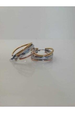 aslica accessories Çelik 3 Renk Altın Kaplama Halka Küpe 0