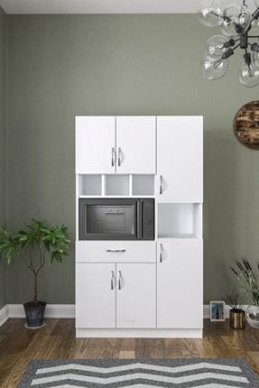 Aeka Anka Beyaz Çok Amaçlı Mutfak Dolabı & Banyo Dolabı 6 Kapaklı, 1 Çekmeceli 0