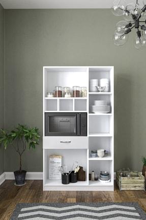 Aeka Anka Beyaz Çok Amaçlı Mutfak Dolabı & Banyo Dolabı 6 Kapaklı, 1 Çekmeceli 1