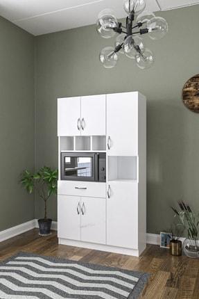 Aeka Anka Beyaz Çok Amaçlı Mutfak Dolabı & Banyo Dolabı 6 Kapaklı, 1 Çekmeceli 3