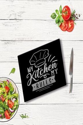Saban My Kitchen My Rules Cam Kesme Tahtası Cam Kesme Tablası 30 cm X 40 cm 0