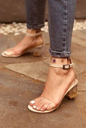 Huella Kadın Yazlık Krem Şeffaf Topuklu Ayakkabı 1