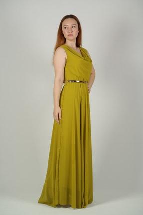 Kadın Fıstık Yeşili Uzun Elbise KDMTOOO1