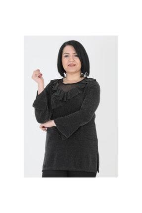 Günay Kadın Bluz Lm93450 Mevsimlik O Yaka Fırfır Detay Sim-sıyah 2