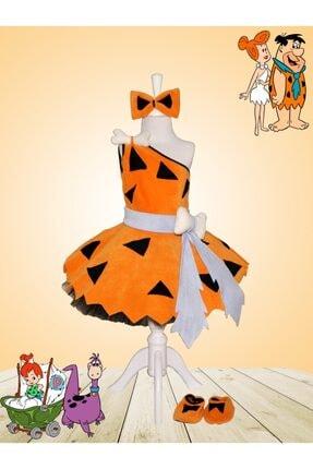 Zeze Kostüm Kız Çocuk Turuncu Taş Devri Çakıl Kostümü 0