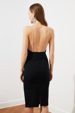 TRENDYOLMİLLA Siyah Aksesuar Detaylı  Elbise TPRSS20EL2061 4