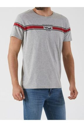 Ltb Erkek Gri  Baskılı  Kısa Kol Bisiklet Yaka T-Shirt-012208421960890000 4