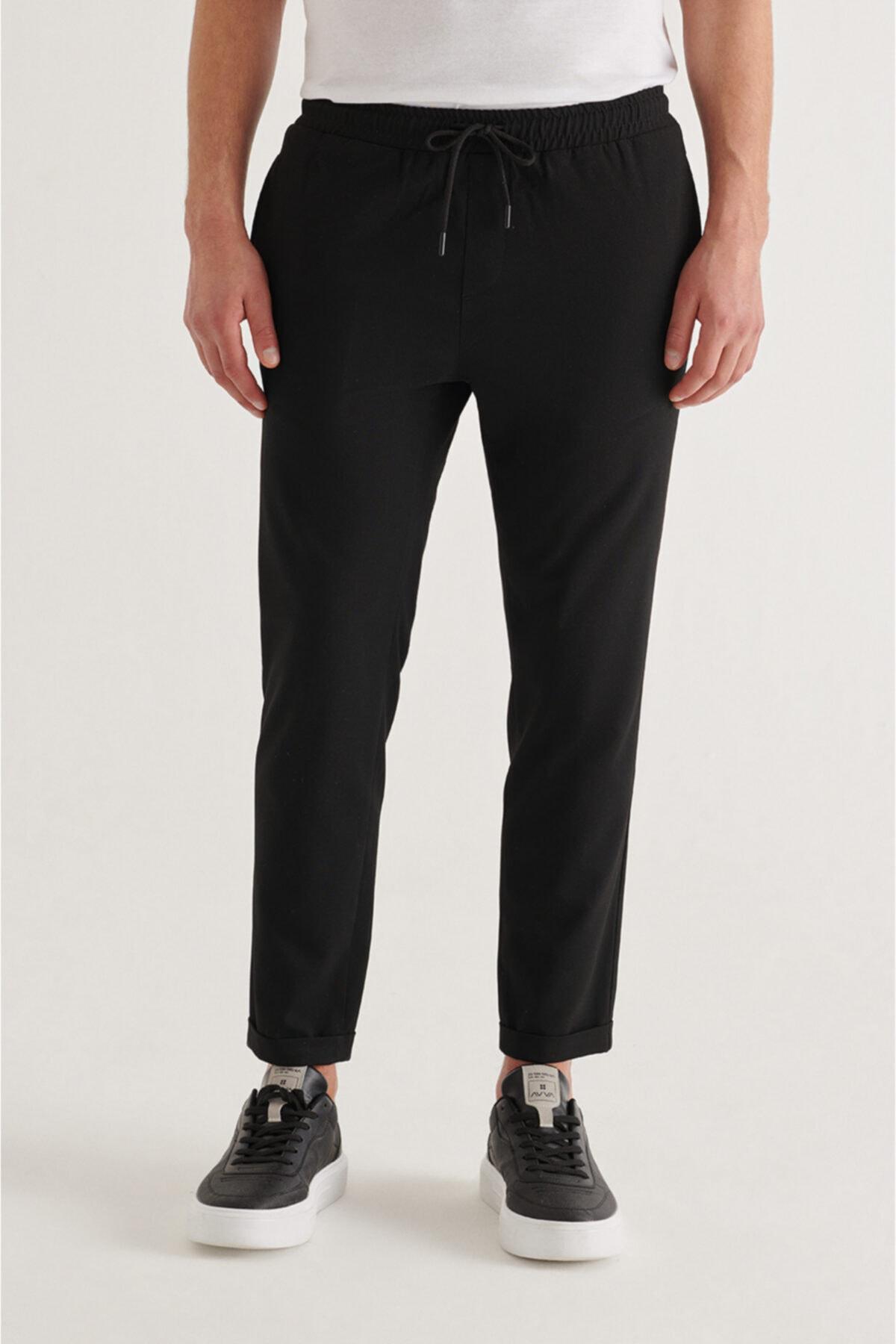 Erkek Siyah Yandan Cepli Beli Lastikli Kordonlu Düz Relaxed Fit Pantolon E003000