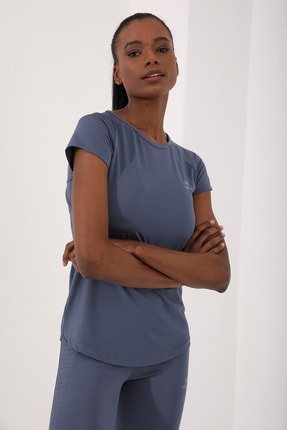 Tommy Life Petrol Kadın Sırt Pencereli Kısa Kol Standart Kalıp O Yaka T-shirt - 97101 3