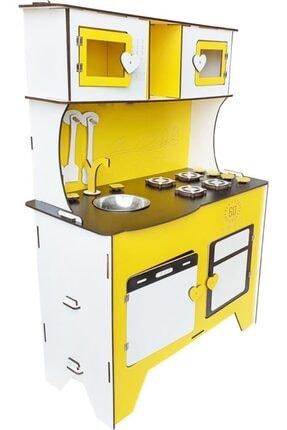 WoodyLife 104 cm Çocuk Odası Ahşap Mutfak Montessori Oyuncak Dolabı Sarı Zeytindalı Oyunevi Kutu 0
