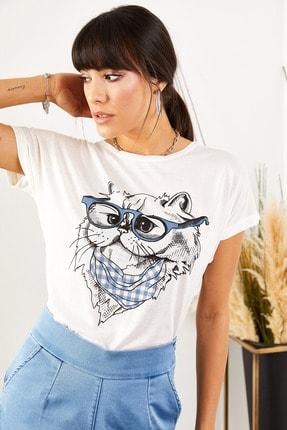 Olalook Kadın Beyaz Gözlük Salaş Tişört TSH-19000351 3