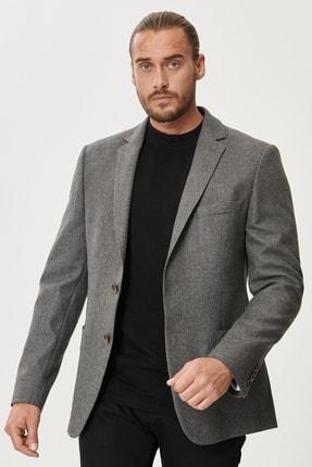 Picture of Erkek Antrasit Slim Fit Dar Kesim Mono Yaka Yünlü Blazer Ceket