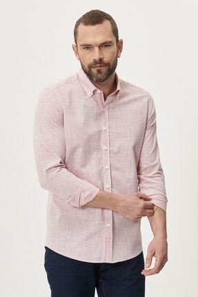 Altınyıldız Classics Erkek Bordo Tailored Slim Fit Dar Kesim Düğmeli Yaka %100 Koton Gömlek 1