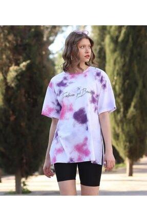 WoolnClyde Kadın Pembe Günlük  Koton Rahat Kesim Kısa Kollu Yuvarlak Yaka T-shirt 2