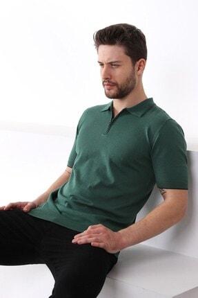 Ferraro Erkek Yeşil Polo Yaka Fermuarlı Pamuk Triko T-shirt 4