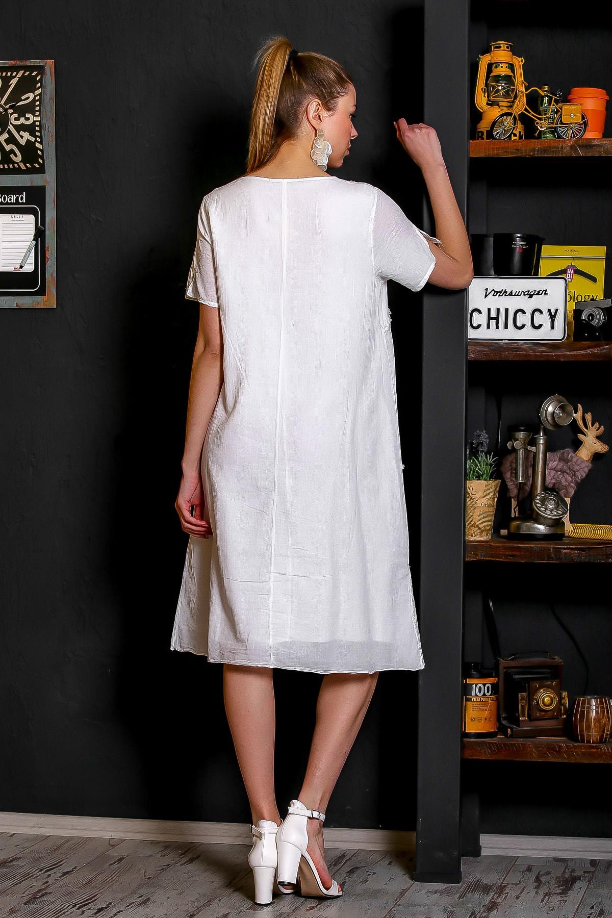 Chiccy Kadın Beyaz Sıfır Yaka Dantel Bloklu Cepli Astarlı Yıkamalı Elbise M10160000EL95294 4