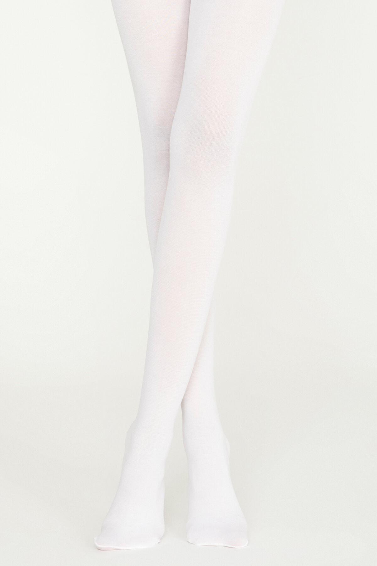 Penti Kadın Beyaz Koton Külotlu Çorap 1