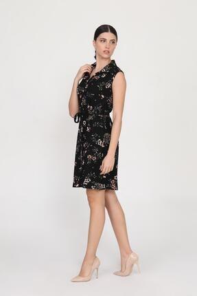 Ceylen Kadın Siyah Önden Düğmeli Desenli Elbise 1