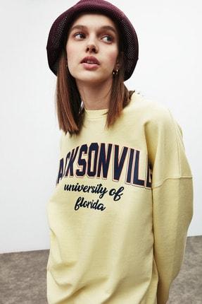 GRIMELANGE RAMONA Kadın Sarı Önü Baskılı Sweatshirt 1