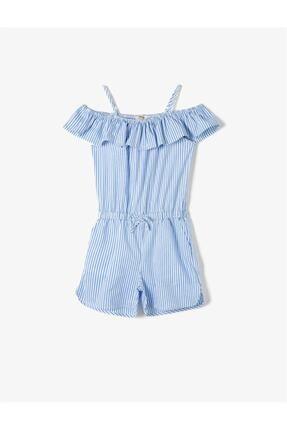 Koton Mavi Çizgili Kız Çocuk Tulum 0