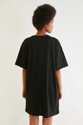 TRENDYOLMİLLA Siyah Mickey Mouse Lisanslı Baskılı Örme Elbise TWOSS21EL0103 3