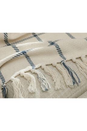 English Home Elegant Lines Pamuk Polyester Koltuk Şalı 130x170 Cm İndigo 2