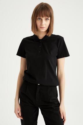 Defacto Kadın Siyah Basic Polo Yaka Tişört 0