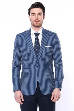 Erkek Çizgili Slim Fit Ceket CY-1202