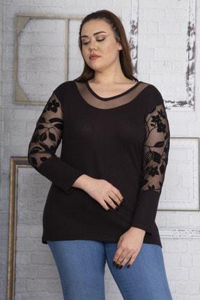 Şans Kadın Siyah Yakası Tül Kolları Flok Tül Bluz 65N22632 3