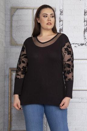Şans Kadın Siyah Yakası Tül Kolları Flok Tül Bluz 65N22632 4