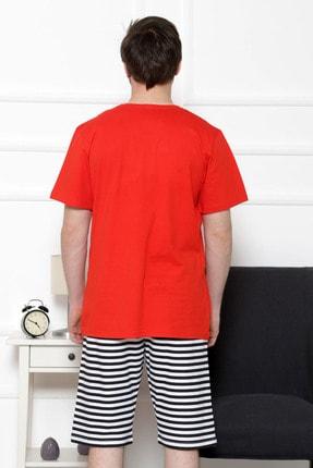 GAZZAZ Erkek Kırmızı Kısa Kol Normal Beden Şort Takım 3