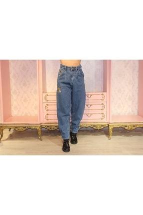 Grenj Fashion Kadın Mavi Önü Pileli Nakışlı Yüksek Bel Balon Jean Pantolon 3