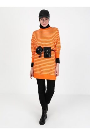 Soul Kadın Turuncu Çizgili Sweatshirt 1