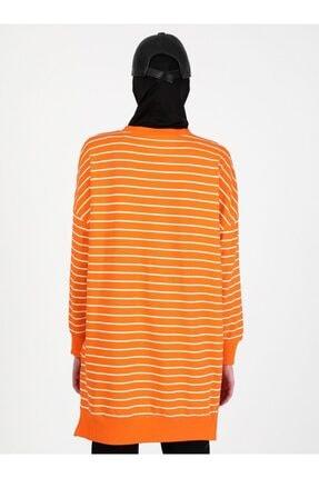 Soul Kadın Turuncu Çizgili Sweatshirt 4