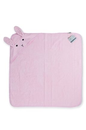 Cigit Kulaklı Tavşan Nakışlı Bebek Banyo Havlusu 75x75 Cm Pudra Pembe 1