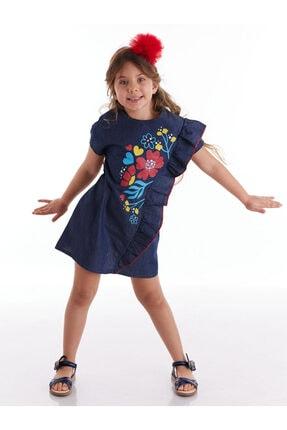 Çiçek Baskılı Kız Kot Elbise resmi