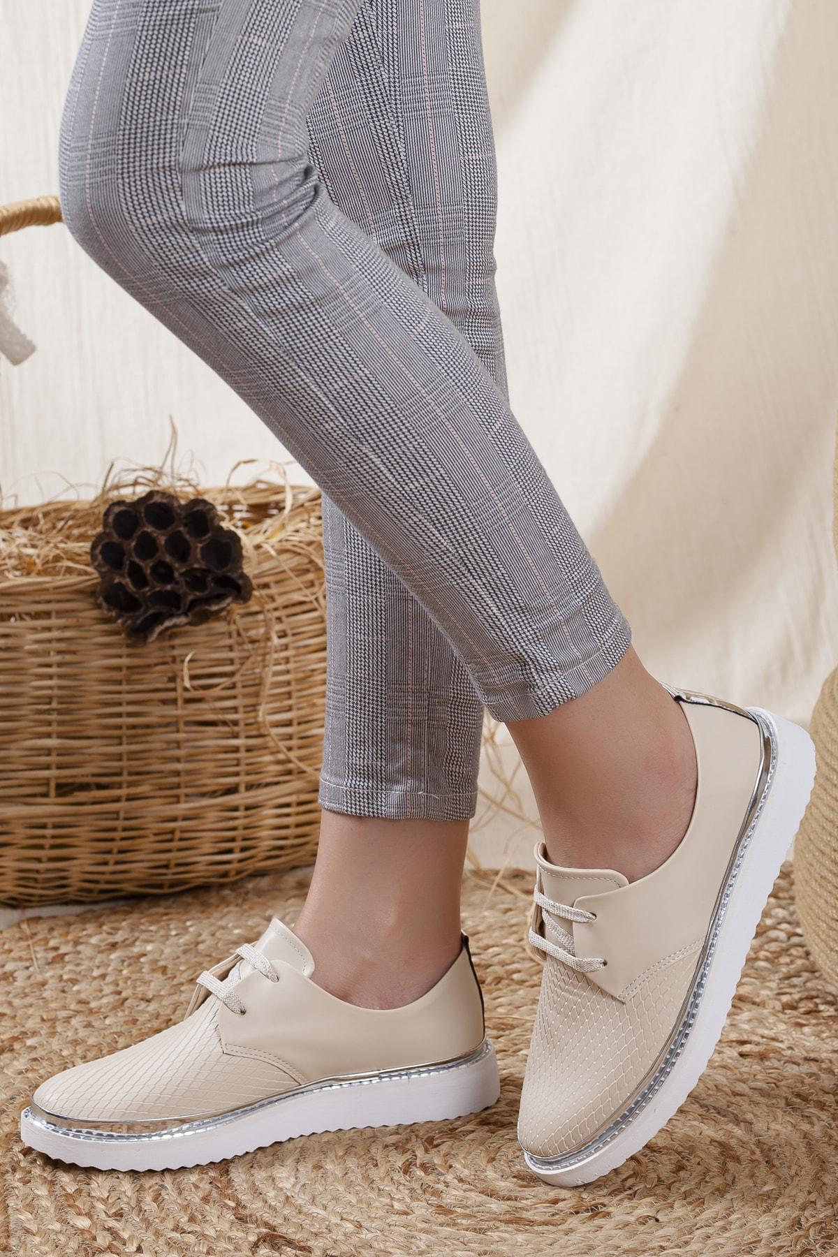 Kadın Bej  Detaylı Casual Ayakkabı