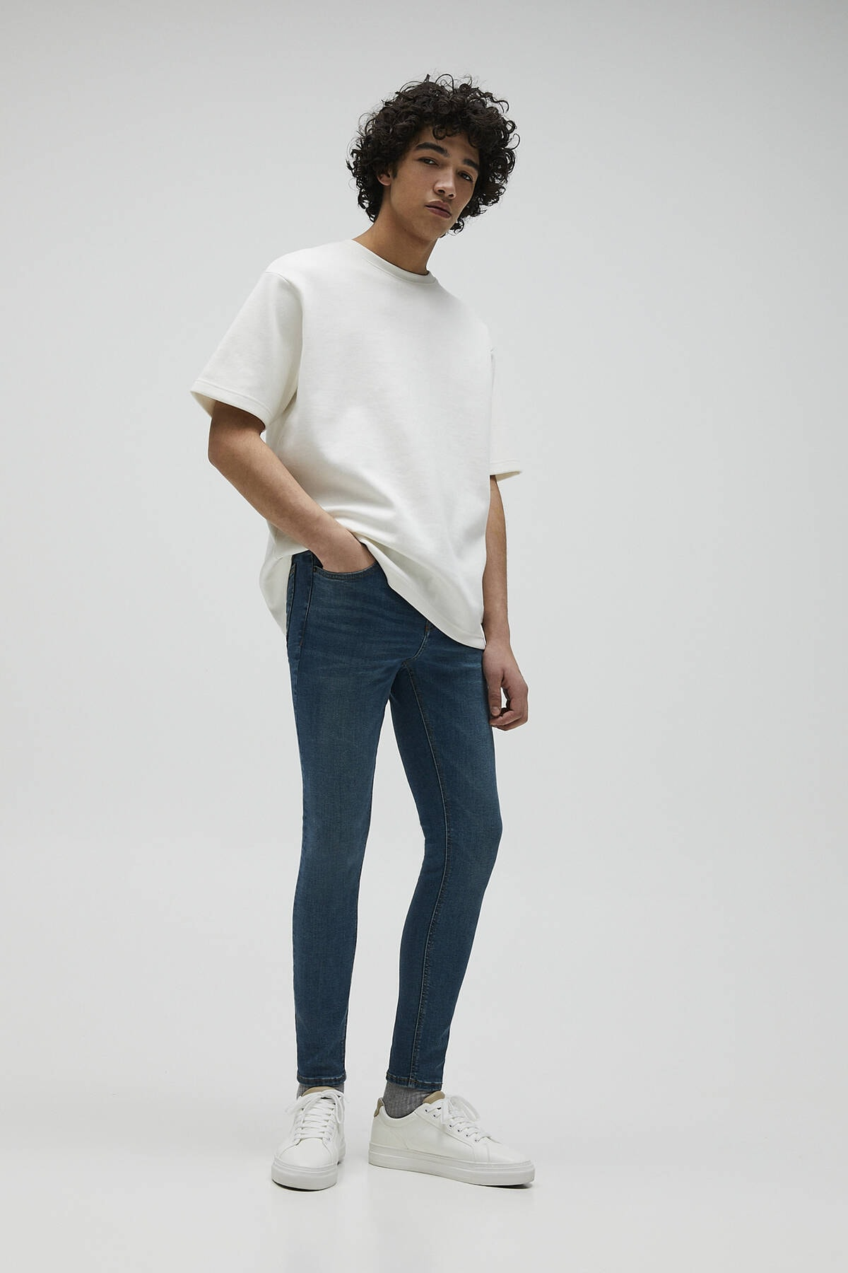 Pull & Bear Erkek Mavi Basic Super Skinny Fit Jean 04681520 2