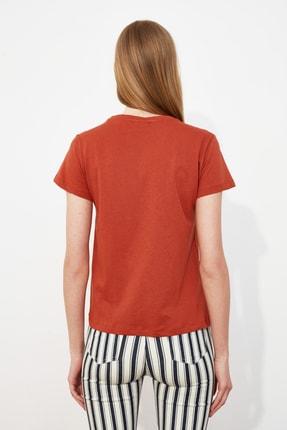TRENDYOLMİLLA Kiremit Nakışlı Basic Örme T-Shirt TWOSS19PB0013 3